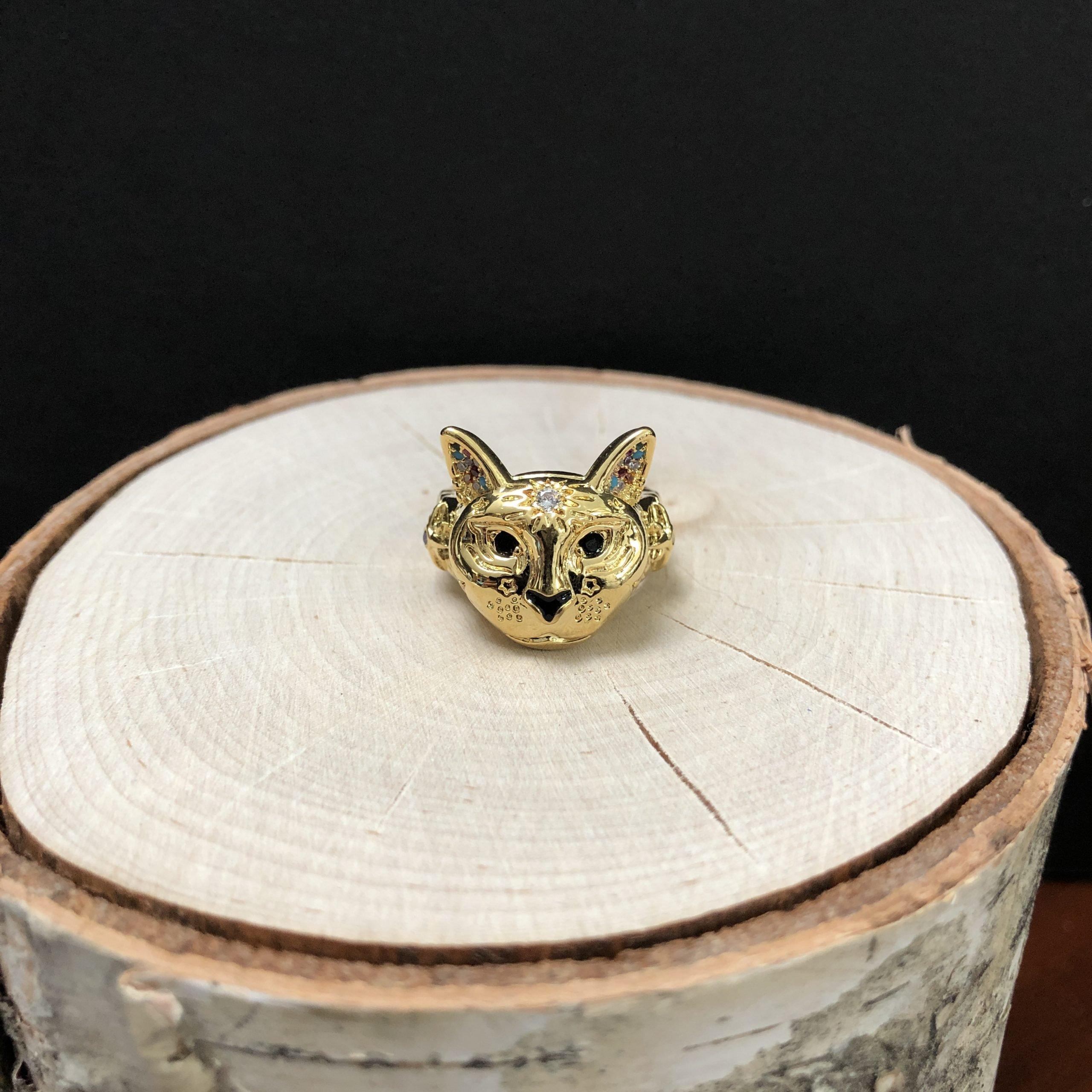Cosmic Kitty Ring black Gold