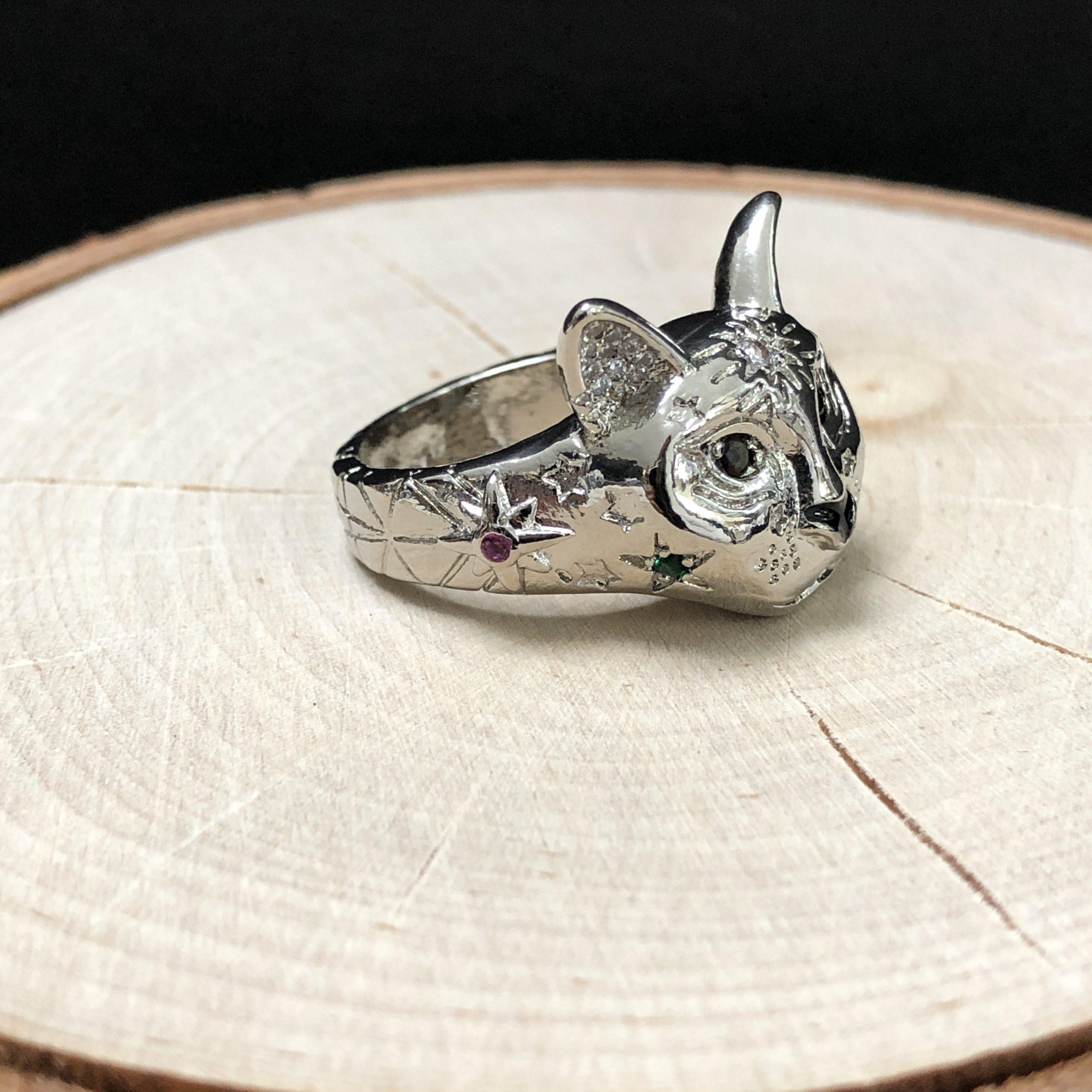 Cosmic Kitty Ring black Silver
