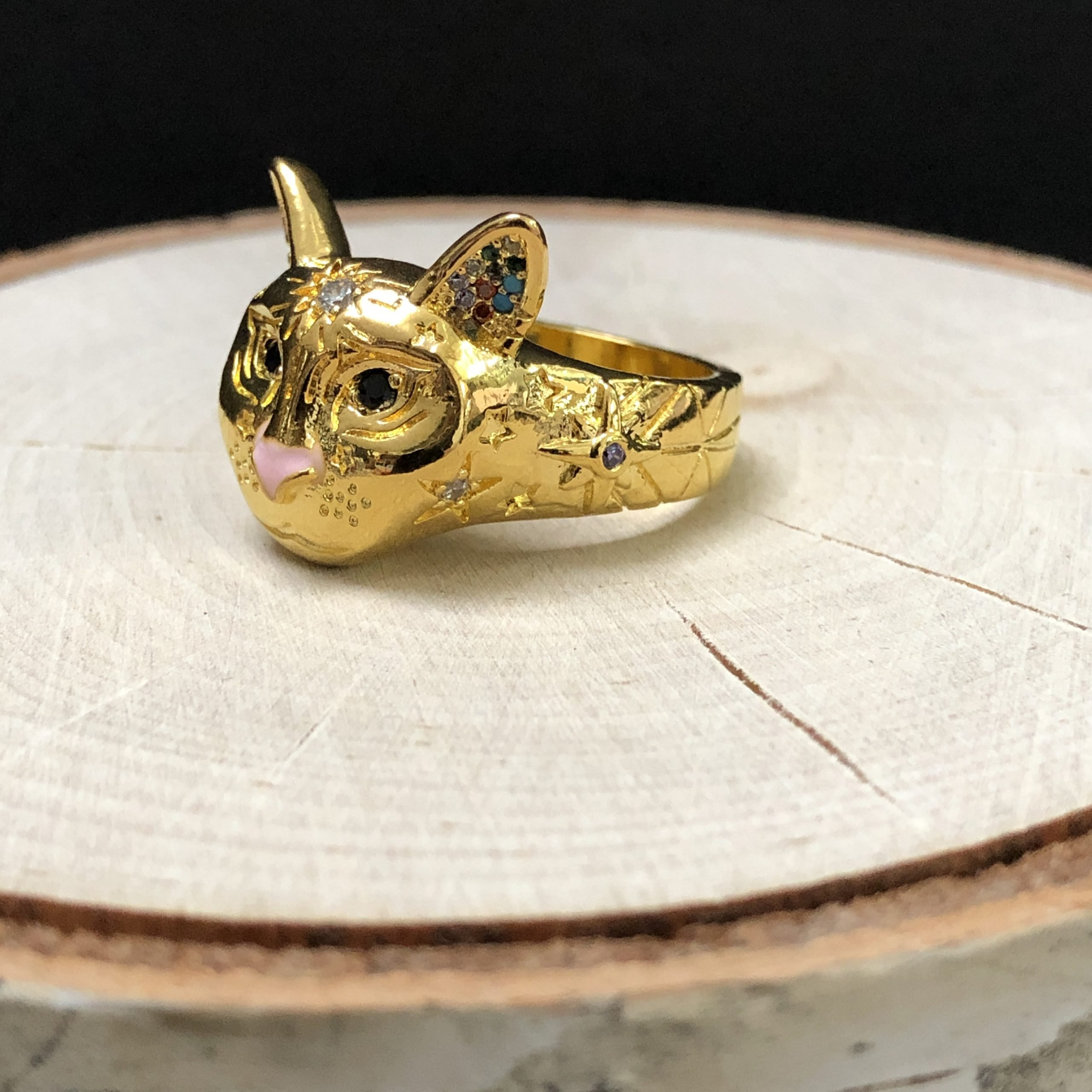 Cosmic Kitty Ring pink Gold