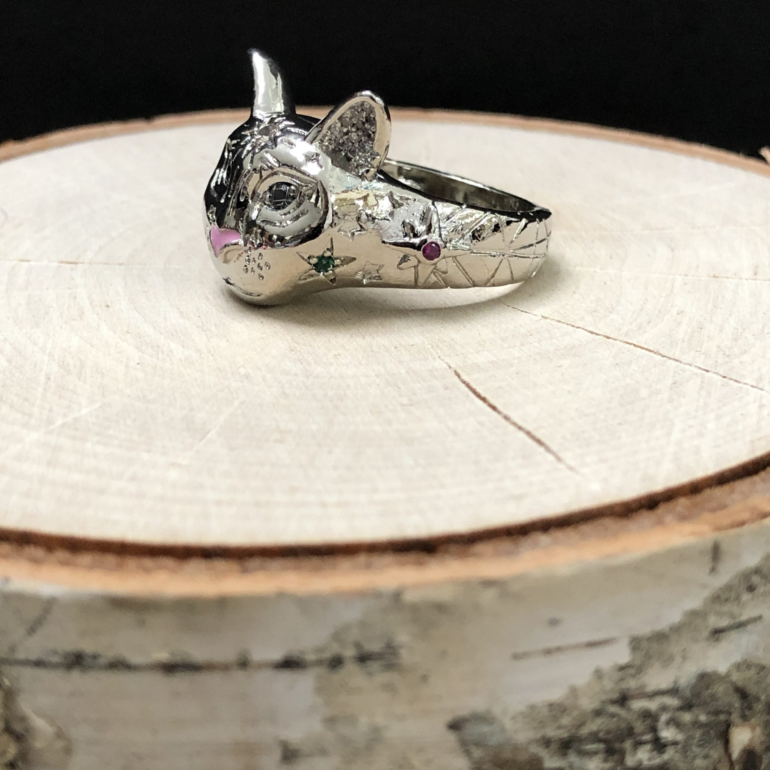 Cosmic Kitty Ring pink Silver