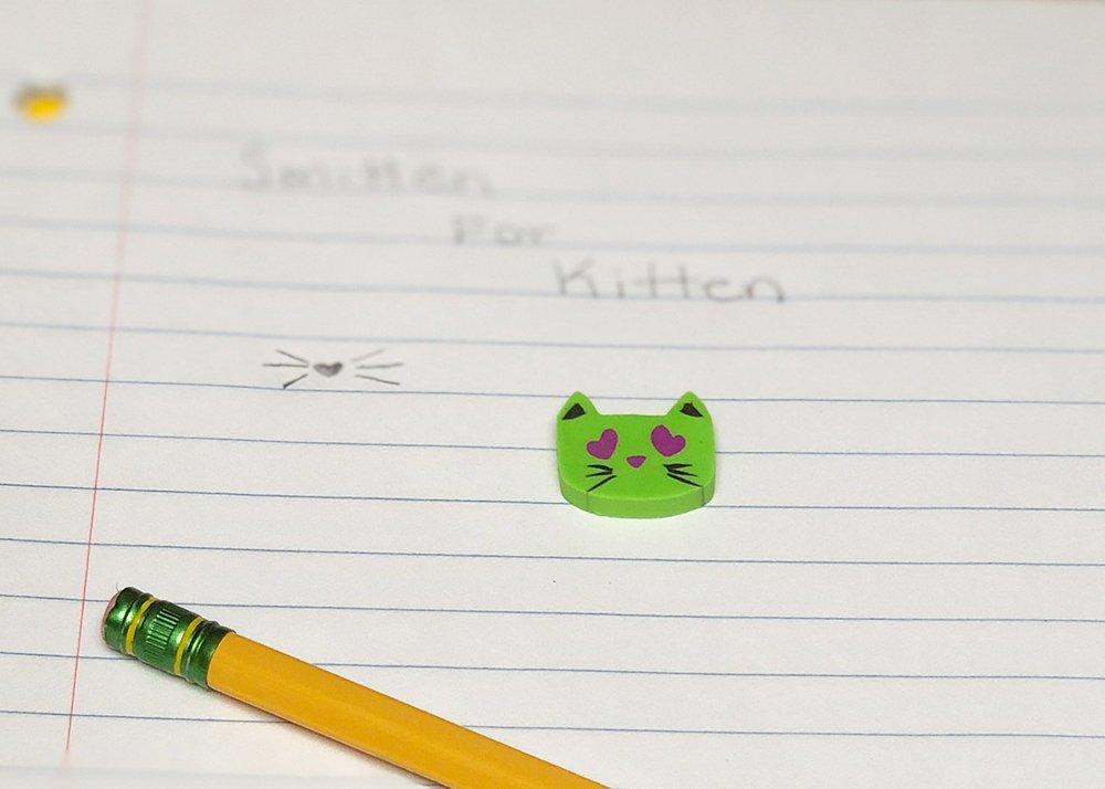 I Love Kitten Eraser Green