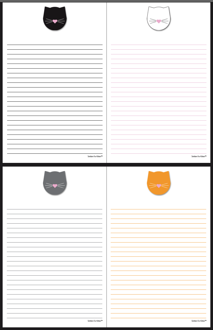 Mister Whiskers lined paper