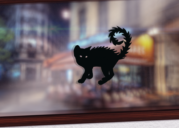 Scary Cat window decal