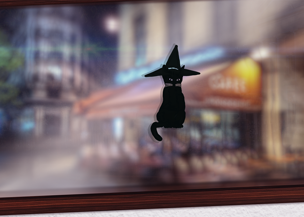Witchy Kitty window decal