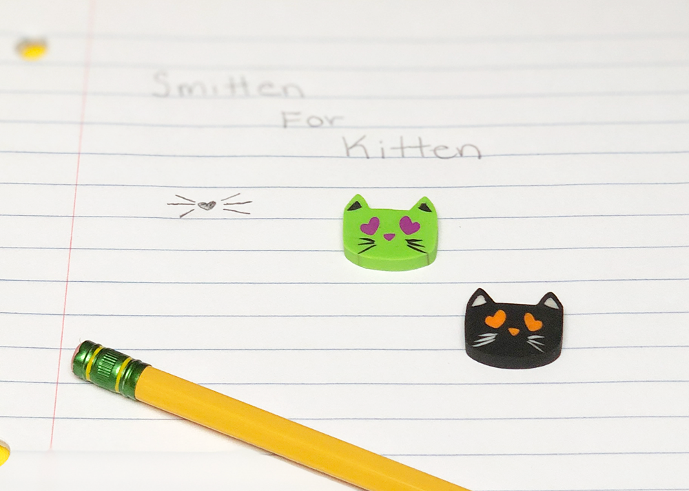 I Love Kitten Erasers